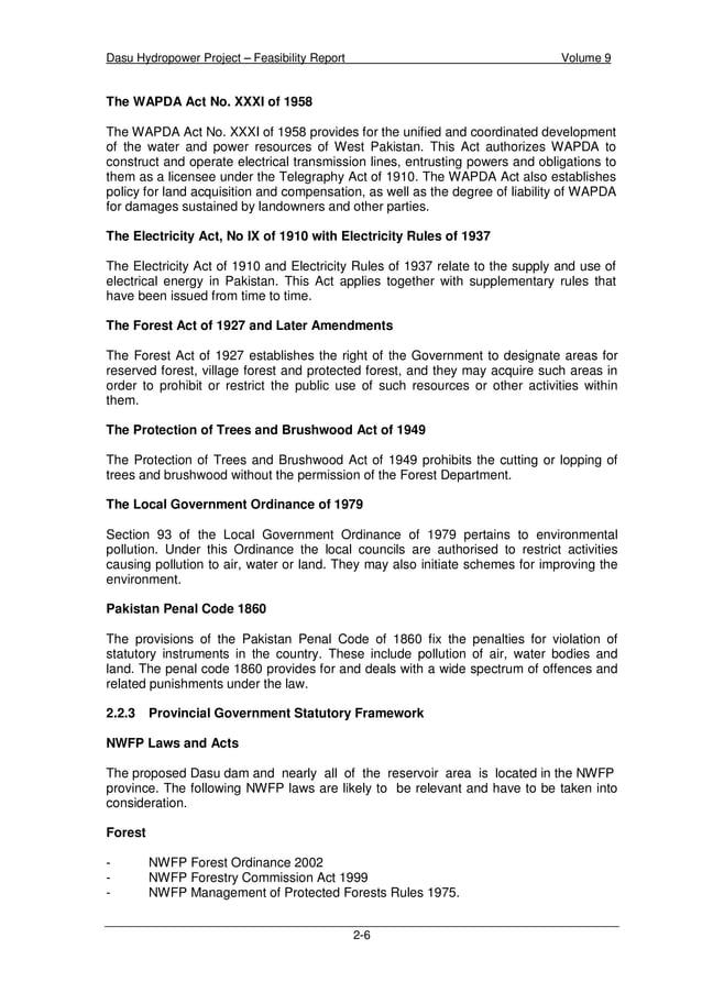 Dasu Hydropower Project – Feasibility Report Volume 9 2-9 WAPDA Power Wing The WAPDA Power Wing currently operates separat...
