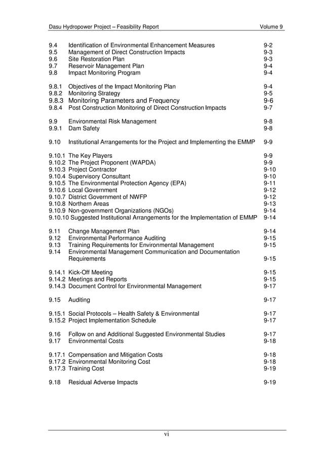 Dasu Hydropower Project – Feasibility Report Volume 9 vi 9.4 Identification of Environmental Enhancement Measures 9-2 9.5 ...
