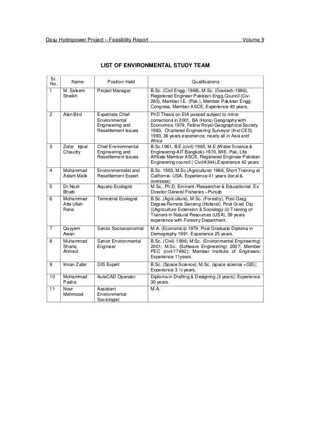Dasu Hydropower Project – Feasibility Report Volume 9 LIST OF ENVIRONMENTAL STUDY TEAM Sr. No. Name Position Held Qualific...