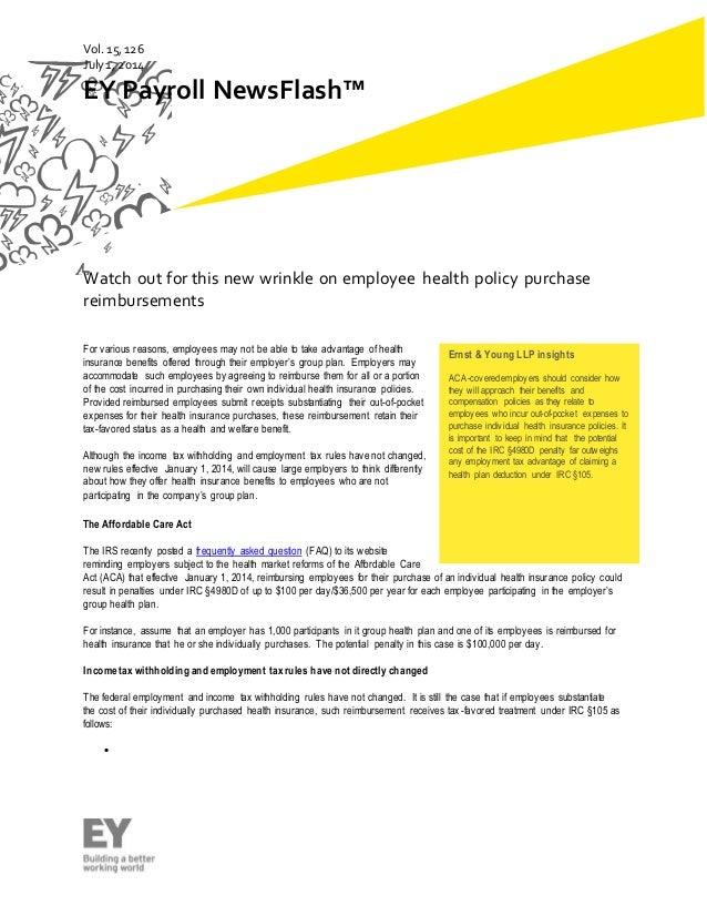 Vol 15,126 health policy purchase eimbursements - a new