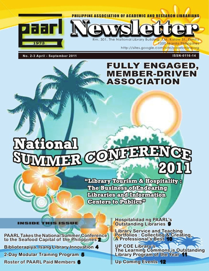 PHILIPPINE ASSOCIATION OF ACADEMIC AND RESEARCH LIBRARIANS                                   Newsletter                   ...