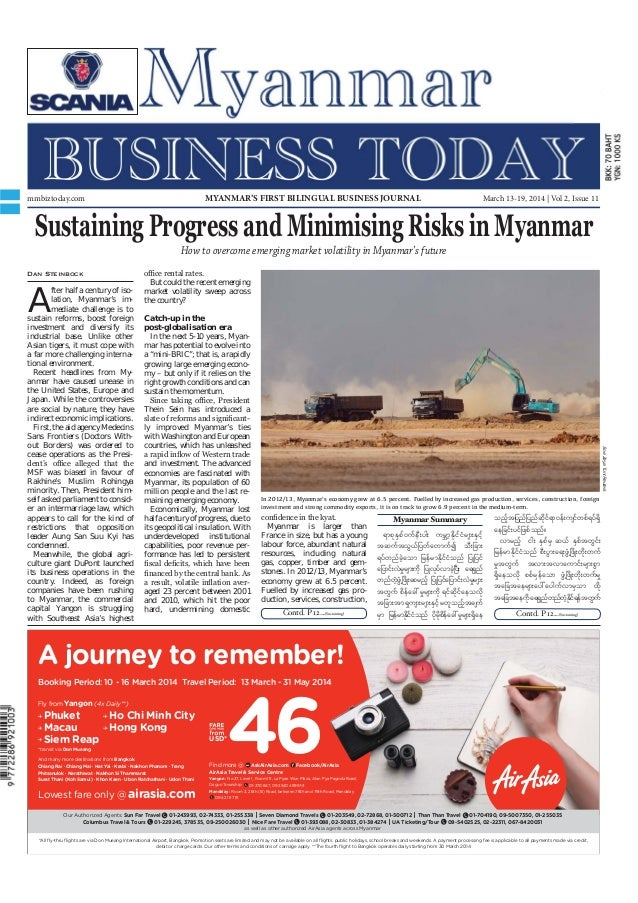 March 13-19, 2014 Myanmar Business Today mmbiztoday.com mmbiztoday.com March 13-19, 2014 | Vol 2, Issue 11MYANMAR'S FIRST ...