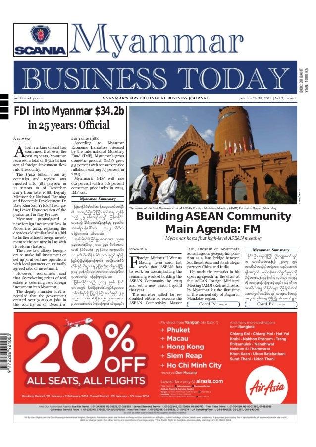 mmbiztoday.com  MYANMAR'S FIRST BILINGUAL BUSINESS JOURNAL  January 23-29, 2014 | Vol 2, Issue 4  FDI into Myanmar $34.2b ...