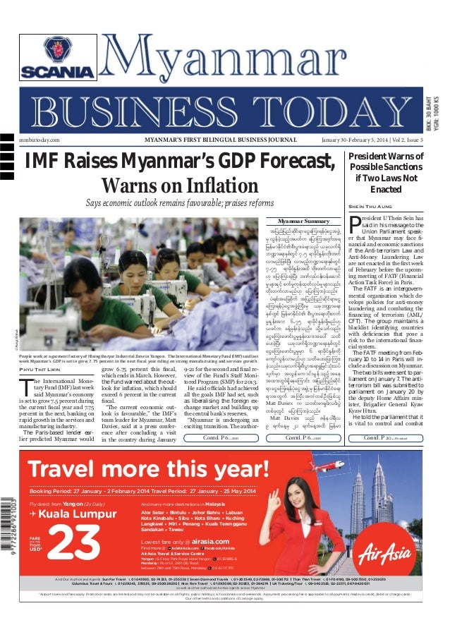 Myanmar Business Today mmbiztoday.com  January 30-February 5, 2014  MYANMAR'S FIRST BILINGUAL BUSINESS JOURNAL  mmbiztoday...