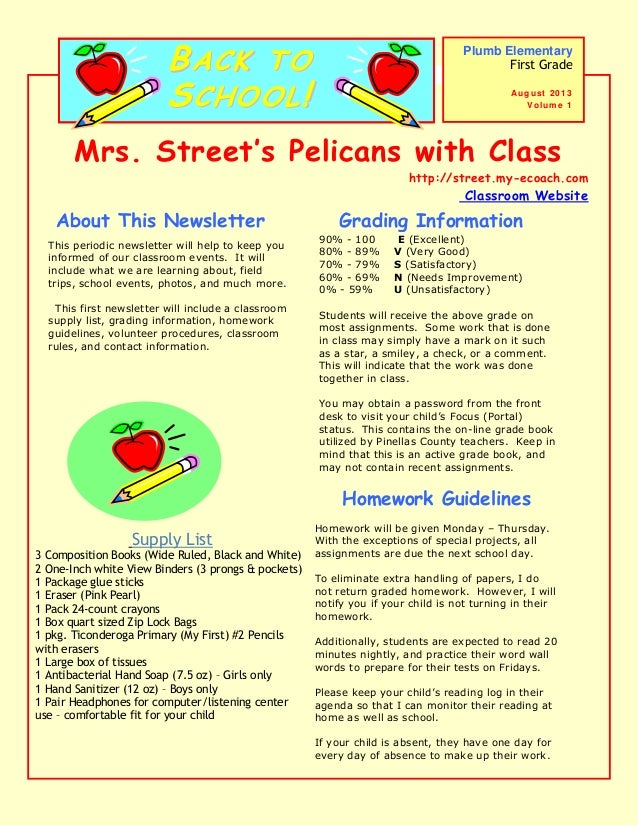 Mrs. Street's Pelicans with Class http://street.my-ecoach.com Classroom Website This periodic newsletter will help to keep...