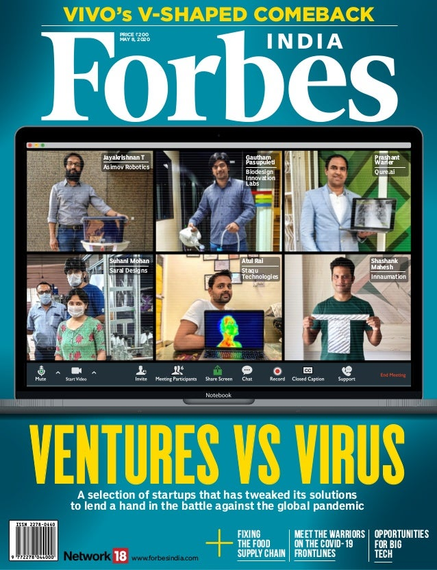 Price `200 May 8, 2020 Vivo's V-Shaped Comeback www.forbesindia.com A selection of startups that has tweaked its solutions...