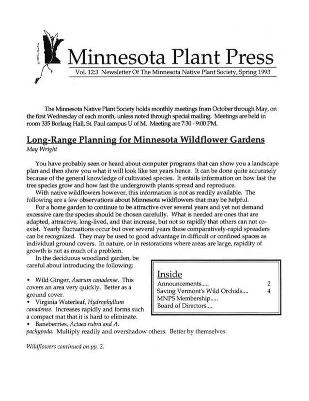 Spring 1993 Minnesota Plant Press