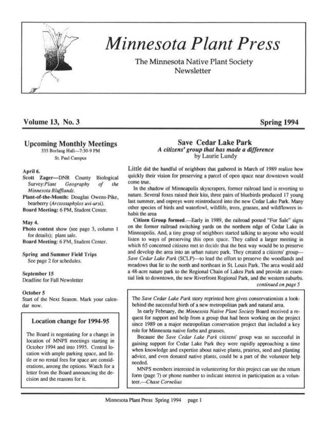 Spring 1994 Minnesota Plant Press