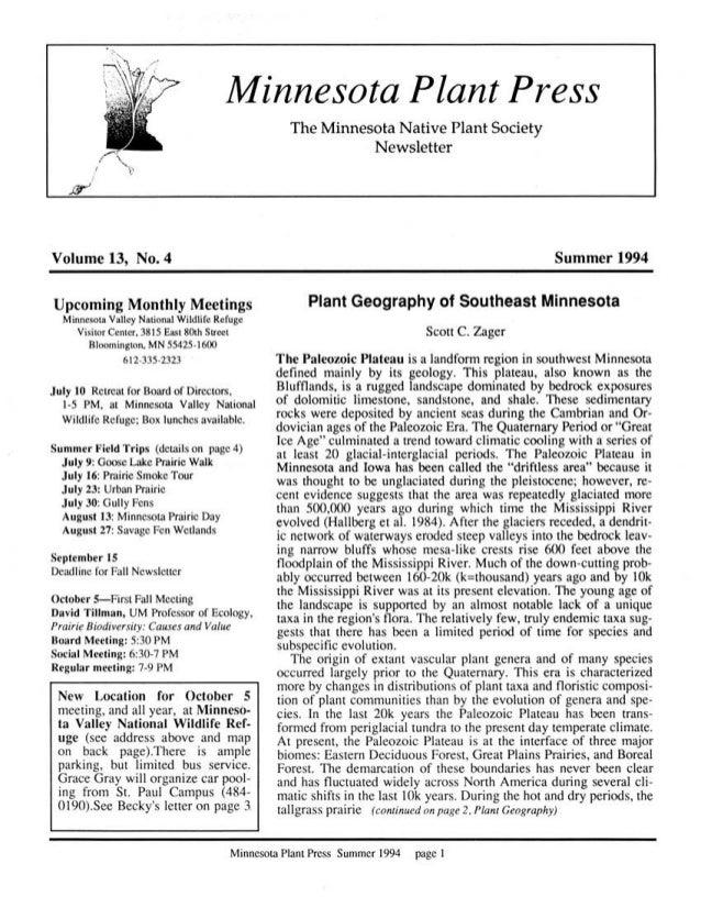 Summer 1994 Minnesota Plant Press