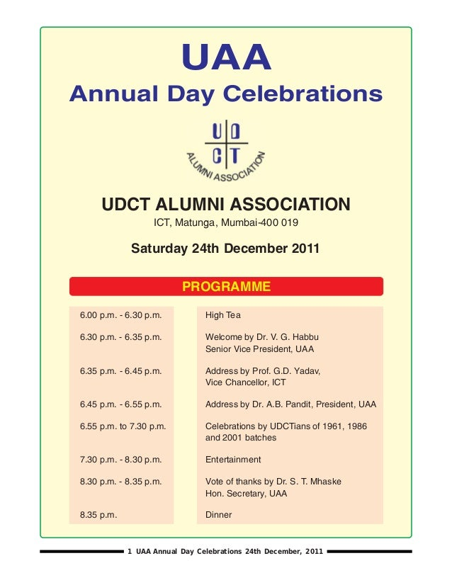 UAAAnnual Day Celebrations     UDCT ALUMNI ASSOCIATION                  ICT, Matunga, Mumbai-400 019             Saturday ...