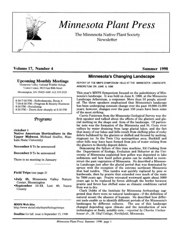 Summer 1998 Minnesota Plant Press