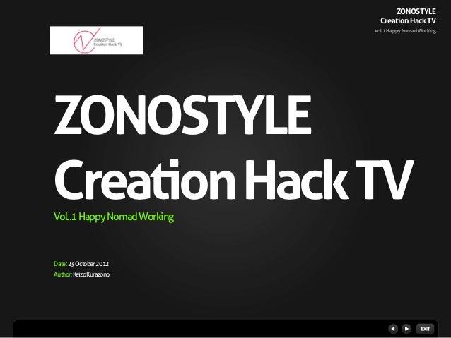 ZONOSTYLE                               Creation Hack TV                             Vol.1 Happy Nomad WorkingZONOSTYLECre...