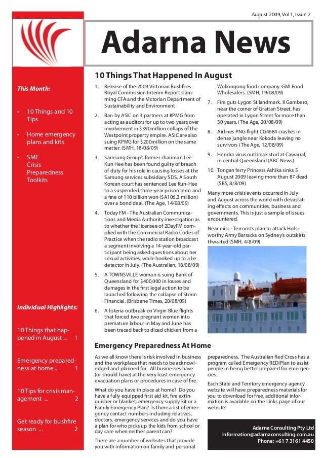 Adarna News August 2009, Vol 1, Issue 2 1. Release of the 2009 Victorian Bushfires Royal Commission Interim Report slam- ...