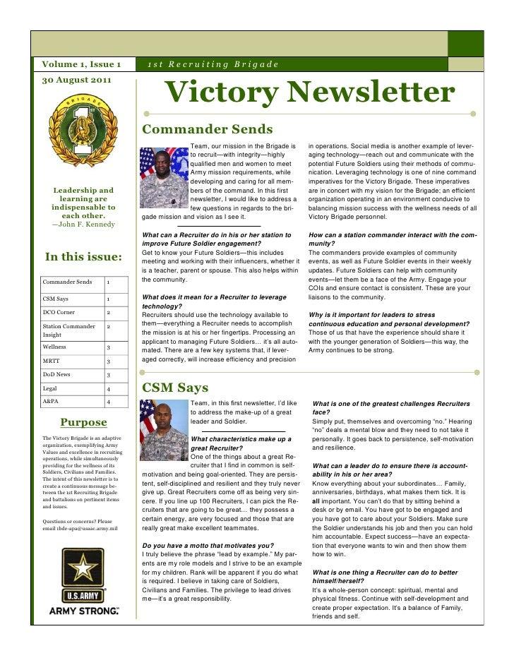 Volume 1, Issue 1                       1st Recruiting Brigade                                              Victory Newsle...