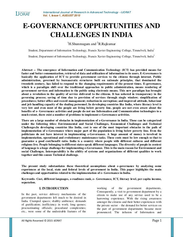 International Journal of Research in Advanced Technology - IJORAT Vol. 1, Issue 1, AUGUST 2015 All Rights Reserved © 2015 ...