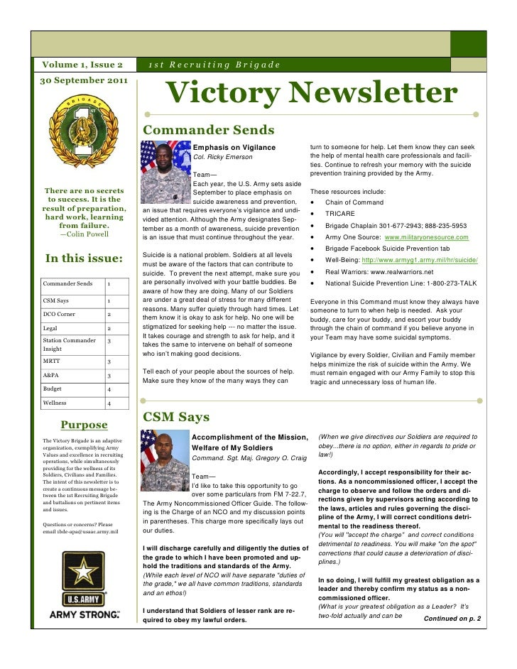 Volume 1, Issue 2                       1st Recruiting Brigade                                              Victory Newsle...