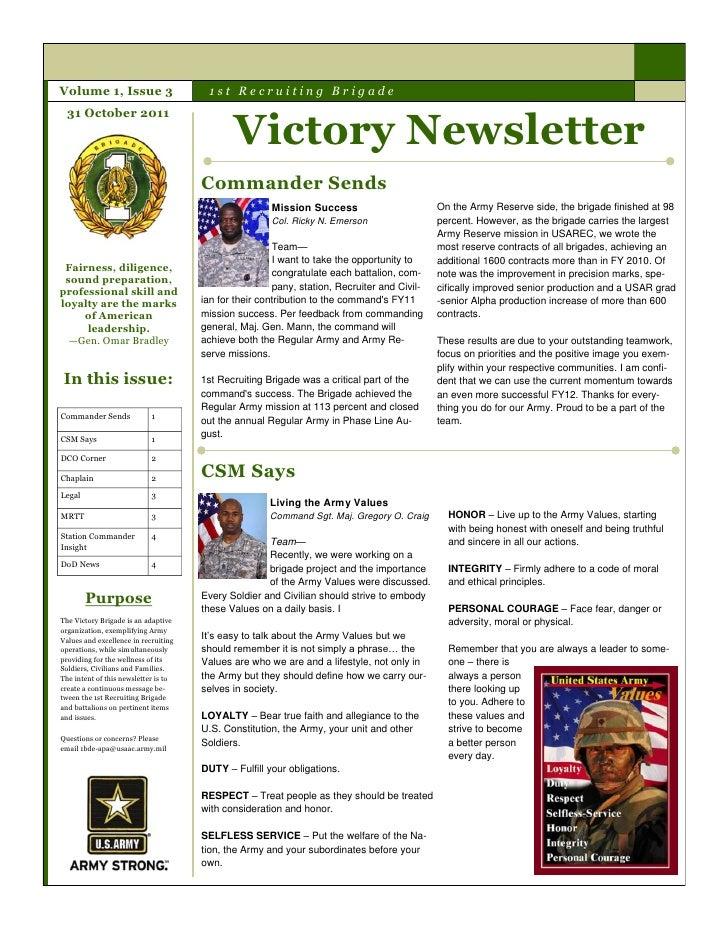 Volume 1, Issue 3                      1st Recruiting Brigade                                             Victory Newslett...