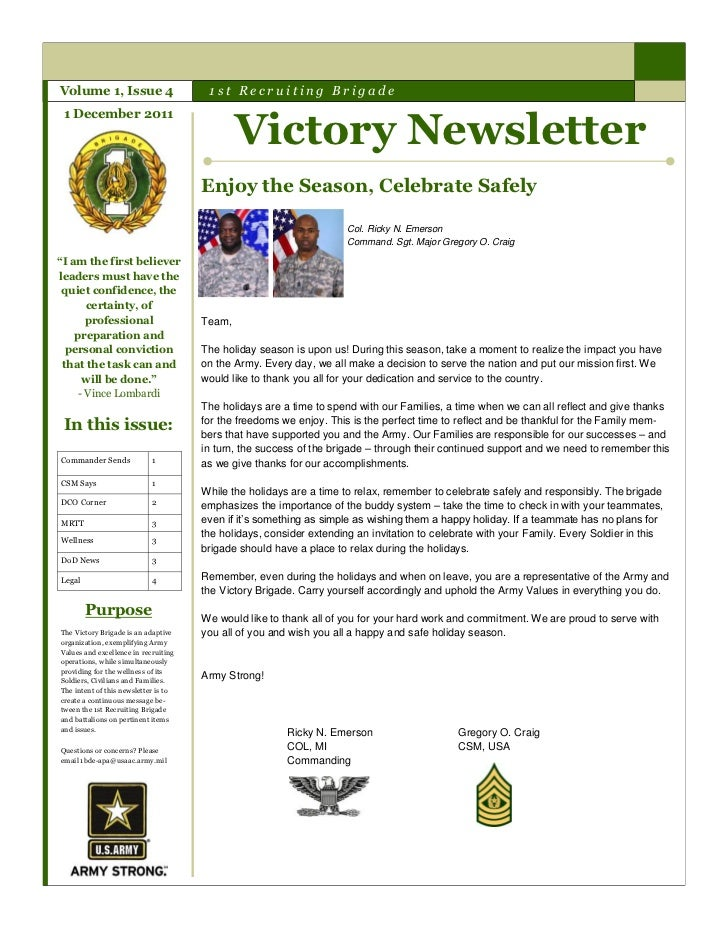 Volume 1, Issue 4                      1st Recruiting Brigade                                              Victory Newslet...