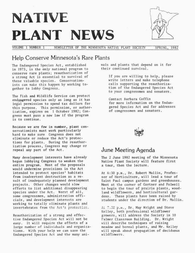 Spring 1982 Minnesota Plant Press