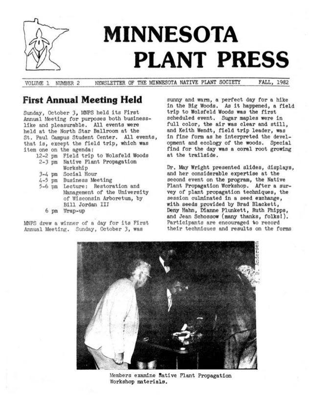 Fall 1982 Minnesota Plant Press