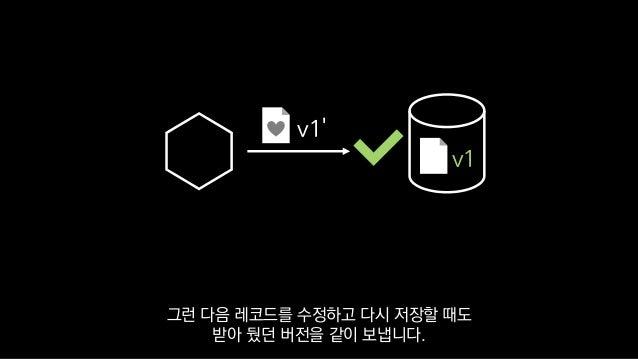 v1' v1 그런 다음 레코드를 수정하고 다시 저장할 때도 받아 뒀던 버전을 같이 보냅니다.