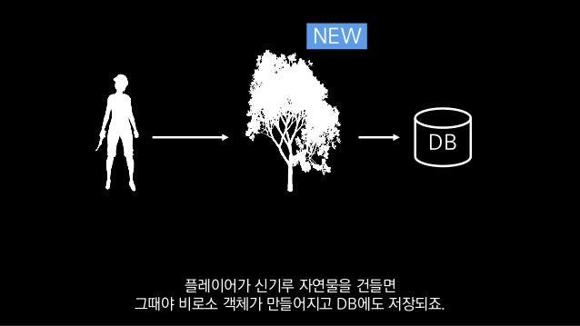 DB NEW 플레이어가 신기루 자연물을 건들면 그때야 비로소 객체가 만들어지고 DB에도 저장되죠.