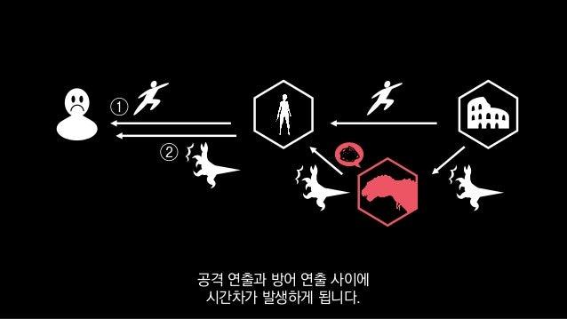 ① ② 공격 연출과 방어 연출 사이에 시간차가 발생하게 됩니다.