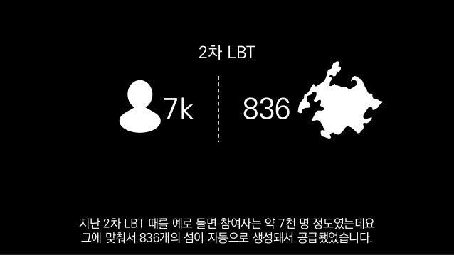 7k 836 2차 LBT 지난 2차 LBT 때를 예로 들면 참여자는 약 7천 명 정도였는데요 그에 맞춰서 836개의 섬이 자동으로 생성돼서 공급됐었습니다.
