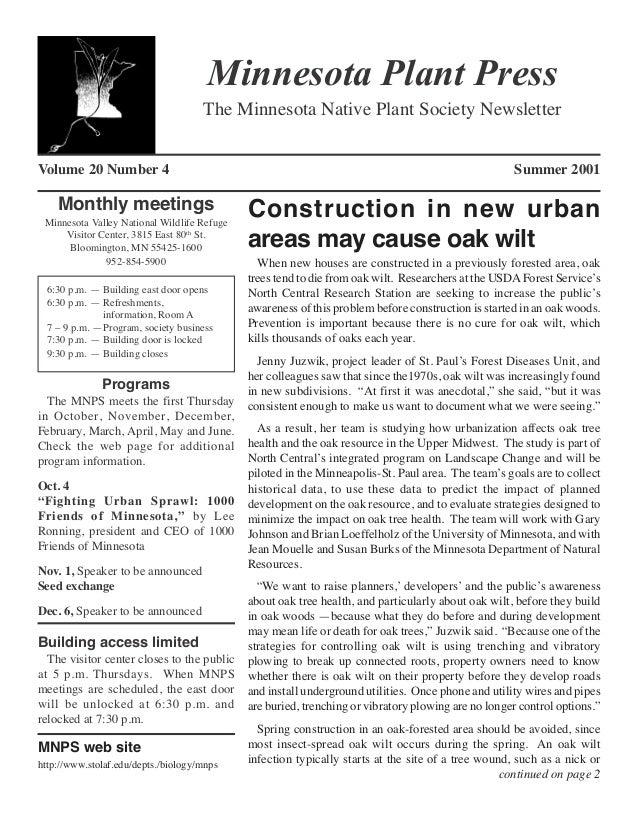 Minnesota Plant Press                                     The Minnesota Native Plant Society NewsletterVolume 20 Number 4 ...