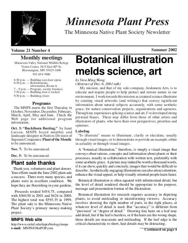 Minnesota Plant Press                                         The Minnesota Native Plant Society NewsletterVolume 21 Numbe...