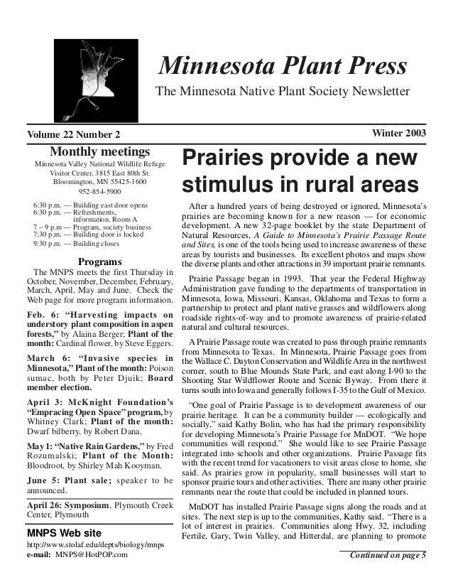 Minnesota Plant Press                                         The Minnesota Native Plant Society NewsletterVolume 22 Numbe...
