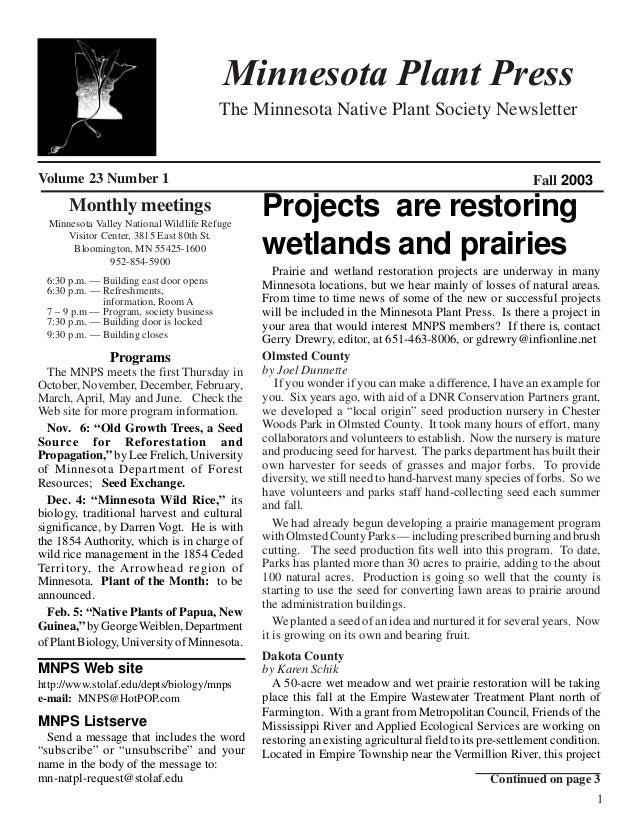 Minnesota Plant Press                                         The Minnesota Native Plant Society NewsletterVolume 23 Numbe...