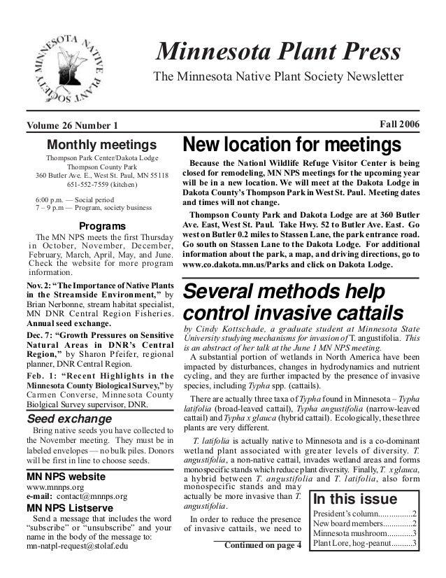 Minnesota Plant Press                                          The Minnesota Native Plant Society NewsletterVolume 26 Numb...
