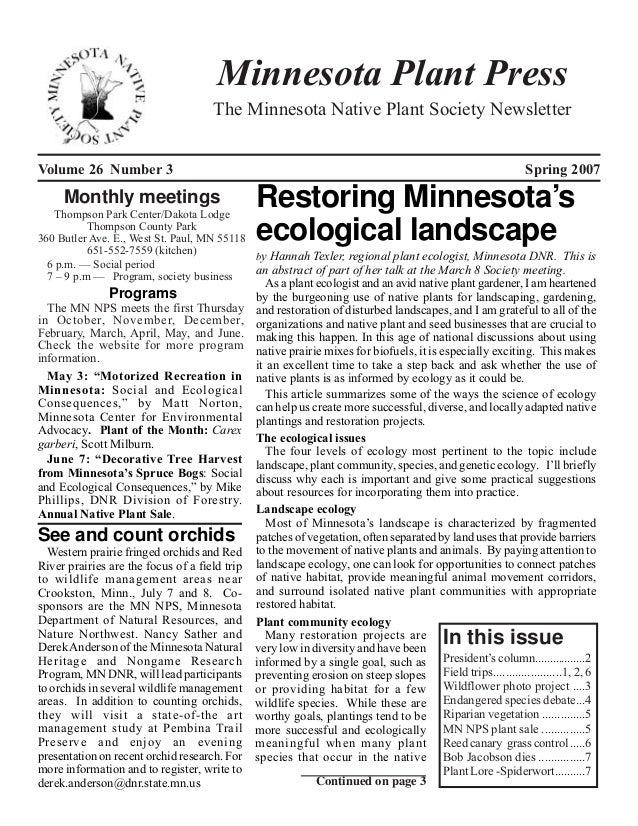 Minnesota Plant Press                                     The Minnesota Native Plant Society NewsletterVolume 26 Number 3 ...