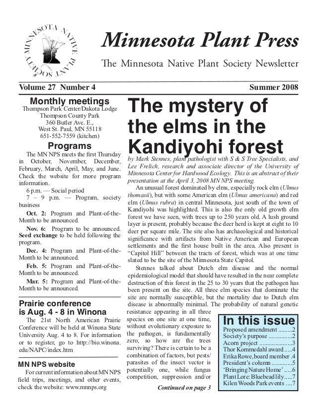 Minnesota Plant Press                                The Minnesota Native Plant Society NewsletterVolume 27 Number 4      ...