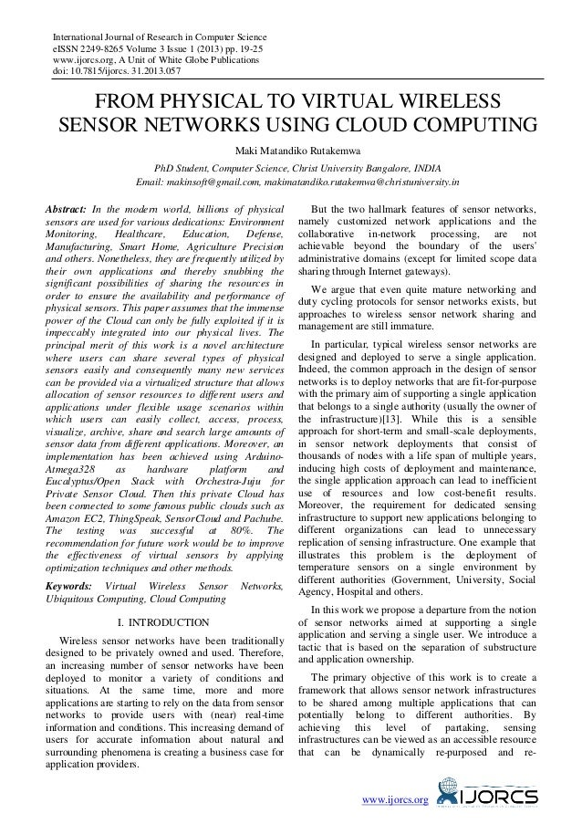 International Journal of Research in Computer Science eISSN 2249-8265 Volume 3 Issue 1 (2013) pp. 19-25 www.ijorcs.org, A ...