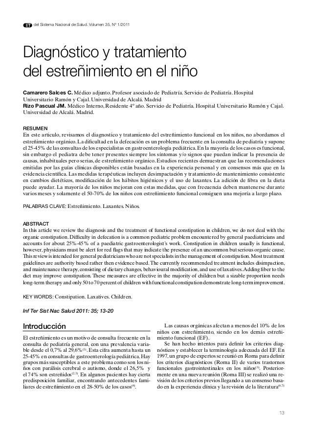 del Sistema Nacional de Salud. Volumen 35, Nº 1/2011Diagnóstico y tratamientodel estreñimiento en el niñoCamarero Salces C...