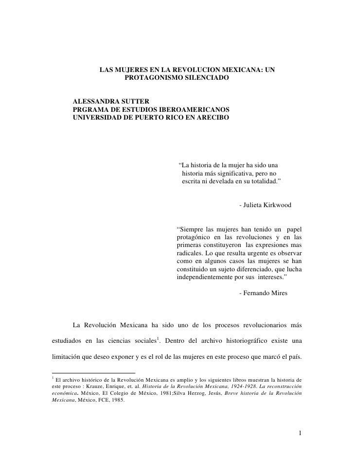 LAS MUJERES EN LA REVOLUCION MEXICANA: UN                           PROTAGONISMO SILENCIADO           ALESSANDRA SUTTER   ...