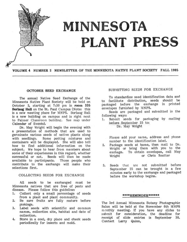 Fall 1985 Minnesota Plant Press