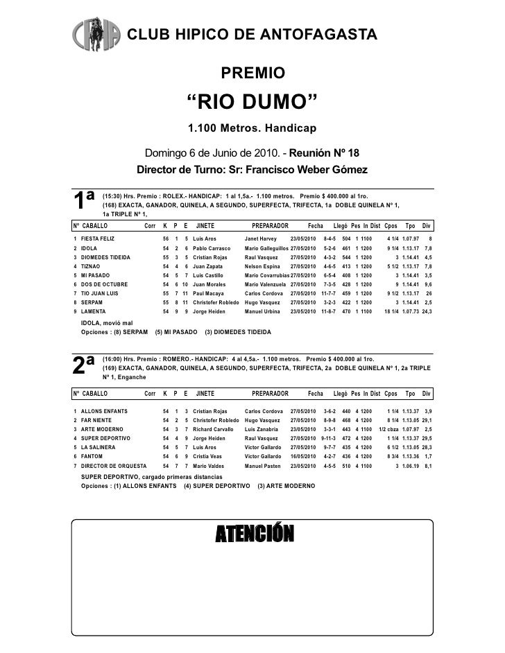CLUB HIPICO DE ANTOFAGASTA                                                        PREMIO                                  ...