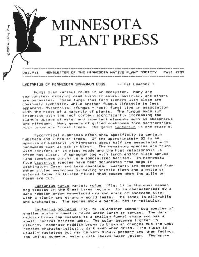 Fall 1989 Minnesota Plant Press
