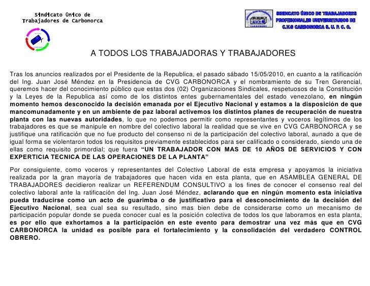 S U PCARBONORCASindicato Único de Trabajadores de Carbonorca                            CARBONORCAS U T R A<br />A TODOS L...