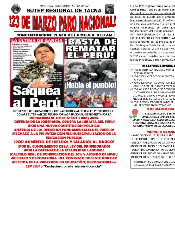 """""""POR UNA LINEA SINDICAL CLASISTA""""                      El año 1991 Fujimori firmó con el FMI y el Banco Mundial """"UN NUEVO ..."""