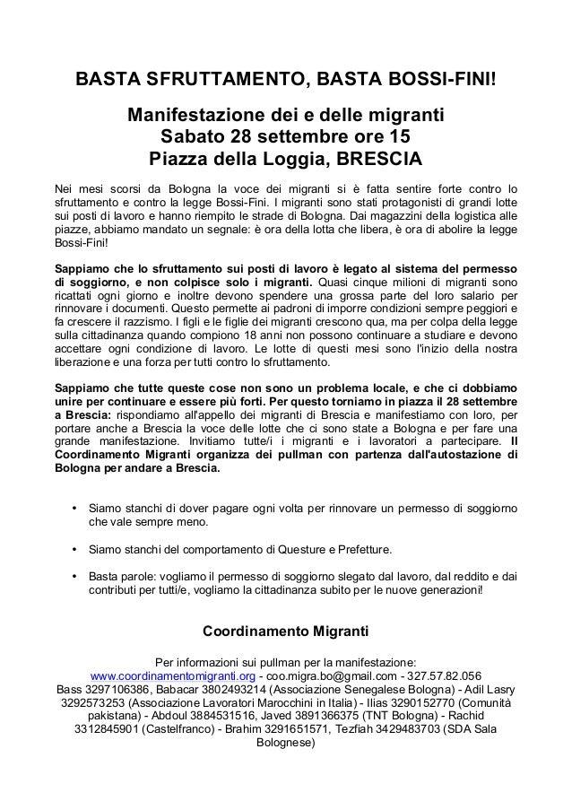 TUTTI A BRESCIA IL 28 /09/13 CONTRO LA LEGGE BOSSI-FINI.