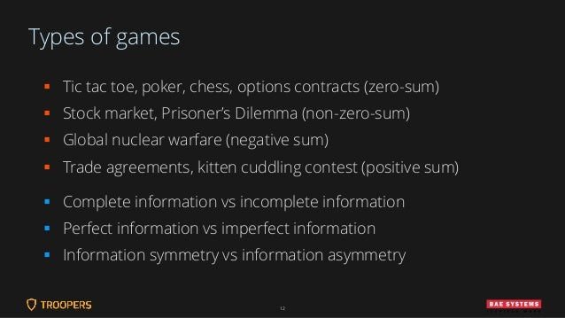 Types of games ▪ Tic tac toe, poker, chess, options contracts (zero-sum) ▪ Stock market, Prisoner's Dilemma (non-zero-sum)...
