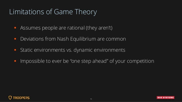 Limitations of Game Theory ▪ Assumes people are rational (they aren't) ▪ Deviations from Nash Equilibrium are common ▪ Sta...