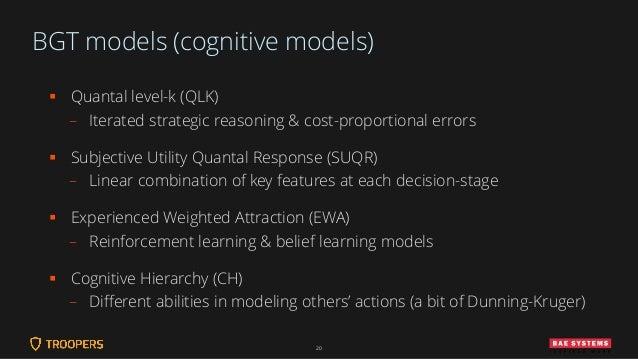 BGT models (cognitive models) ▪ Quantal level-k (QLK) – Iterated strategic reasoning & cost-proportional errors ▪ Subjecti...