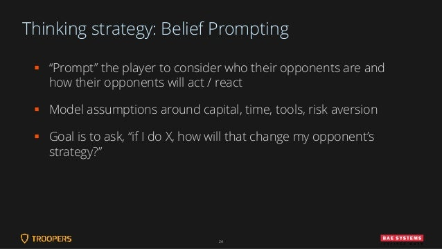 """Thinking strategy: Belief Prompting ▪ """"Prompt"""" the player to consider who their opponents are and how their opponents will..."""