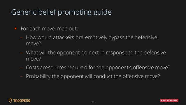 Generic belief prompting guide ▪ For each move, map out: – How would attackers pre-emptively bypass the defensive move? – ...