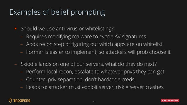 Examples of belief prompting ▪ Should we use anti-virus or whitelisting? – Requires modifying malware to evade AV signatur...